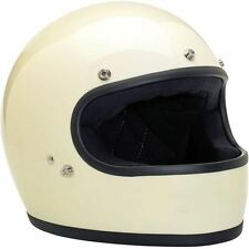 Biltwell Gringo Helmet Full Face Motorcycle DOT Large Gloss Vintage White 59-60