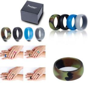 4 Pack MenS Silicone Wedding Rings Stackable Crossfit Gym Fitness