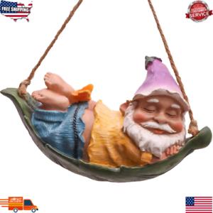Hanging Gnome Garden Statue Swinging Outdoor Indoor Home Patio Decor Sculpture
