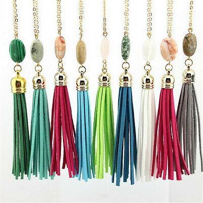 New Oval Nature Stone Velvet Leather Tassel Necklace Long Chain Pendant Jewelry