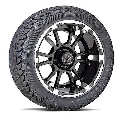 "(4) Fairway Alloys 14"" Sixer FA134 Golf Cart Wheel & EFX 205-30-14 Fusion Tires"