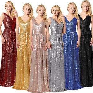 e7dce671e018 Sequins V Neck Long Formal Bridesmaid Dress Plus Size Evening Party ...