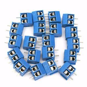 40pcs-Blue-2-Pin-Screw-Terminal-Block-Connector-5-08mm-Pitch-Panel-PCB-Mount-DIY