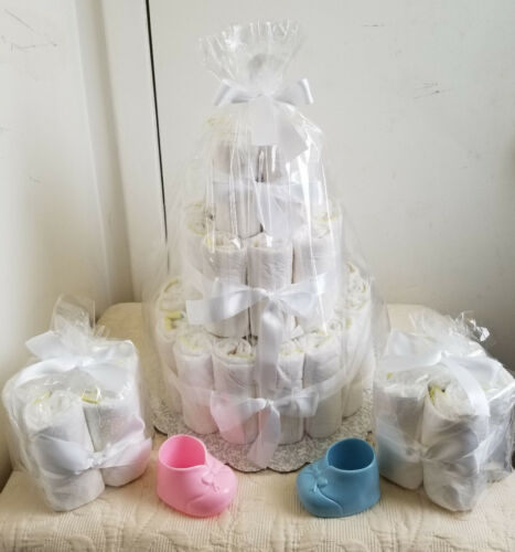 3 Tier Undecorated Diaper Cake Baby Shower Centerpiece /& 2-4-6 Minis Gift Set