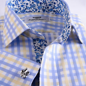 Mens Blue Yellow Check Formal Business Dress Shirt Italian Floral Paisley Boss Ebay