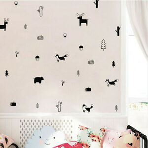 Details About Nordic Style Forest Animal Wall Decals Woodland Nursery Vinyl Art Stickers Decor