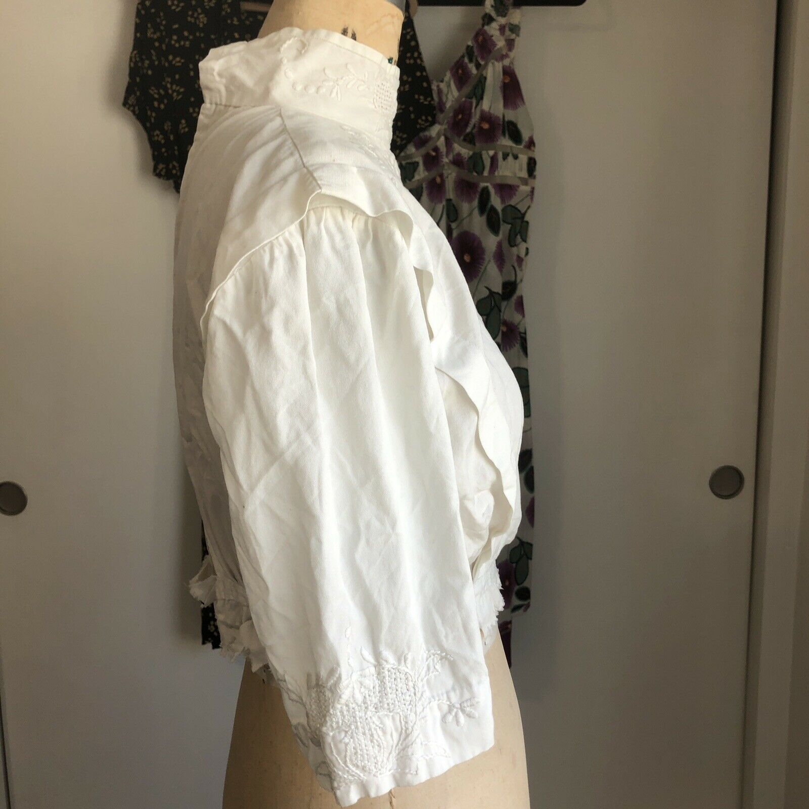 Antique White Embroidered Edwardian Bodice Blouse - image 6