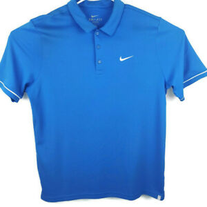 NIKE-Dri-Fit-Mens-Large-LG-Blue-White-Short-Sleeve-Polo-Golf-Shirt
