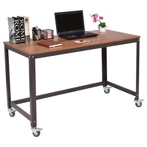 Image Is Loading Computer Desk W Wheels Metal Frame PC Laptop