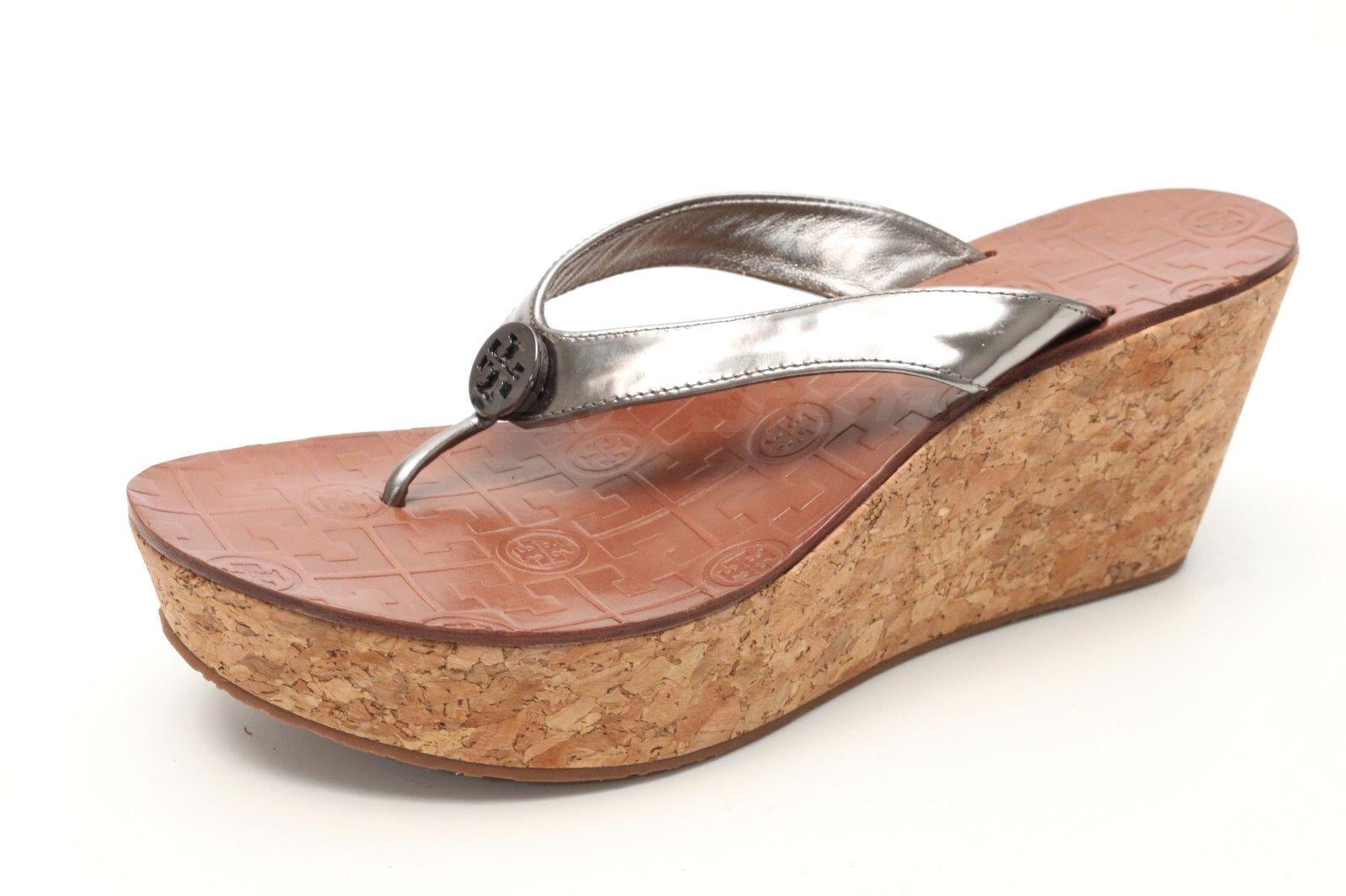 TORY BURCH Thora Thora BURCH 1871 Silver Patent Leder Wedge Flip Flop Thong  Schuhes 9.5 M 4316da