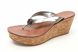5c72f38874db TORY BURCH Thora 2306 Silver Patent Leather Wedge Flip Flop Thong ...