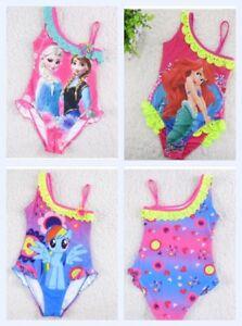 Girls elsa mermaid little pony off shoulder swimsuit age 5-10 UK SELLER