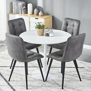 Round Dining Table And 4 Chairs Set Faux Suede Tufting Biscuit Chair Home Living Ebay