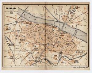 1913 ORIGINAL ANTIQUE CITY MAP OF ZARAGOZA SARAGOSSA / ARAGON ... on