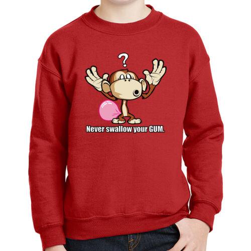 Funny Monkey Kids Sweatshirt Never Swallow your Gum Long Sleeve 2076C