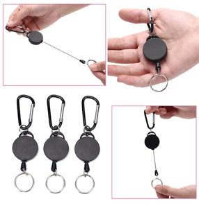 "3Pack Heavy Duty Retractable Key Chain Badge Holder Locking Belt Clip Black 24/"""