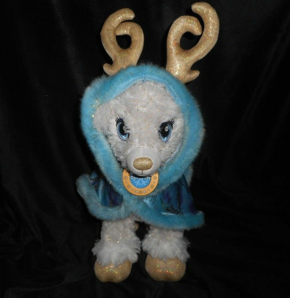 BUILD A BEAR REINDEER GOLDEN GLISTEN STUFFED ANIMAL PLUSH TOY BABW LIGHTS UP