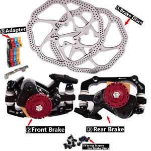 MTB Mechanical Brakes Disc Brake Calipers Rotors 160mm Front&Rear and Brakes pad