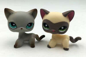 2x-Littlest-Pet-Shop-Cats-391-amp-LPS-1116-Grey-Kitty-Collection-Toys-Kitty-Doll