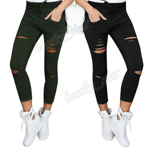 Women-High-Waist-Skinny-Ripped-Pants-Denim-Stretch-Slim-Jeans-Pencil-Trouser-BK