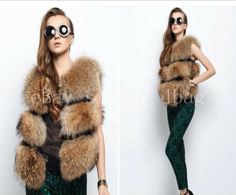 Womens Faux Fox Fur Waistcoat Sleeveless Gilet Short Winter Warm Vest Parka Coat