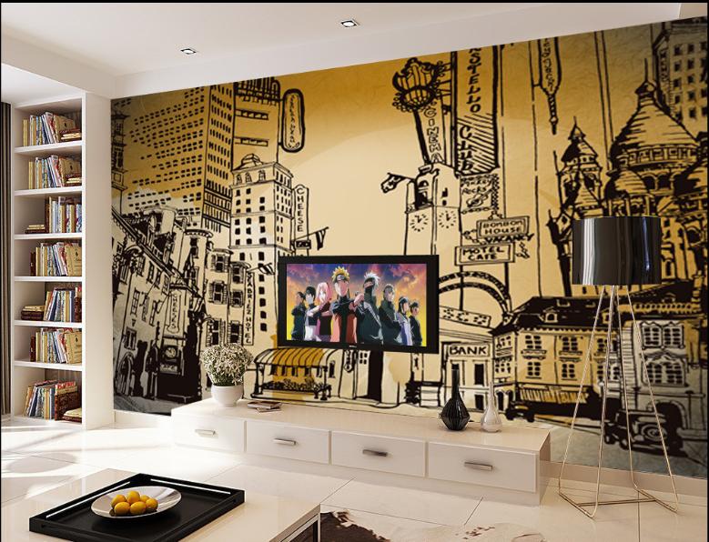 3D Handbemalt Stadt  Bild 74 Tapete Wandgemälde Tapete Tapeten Bild Familie DE