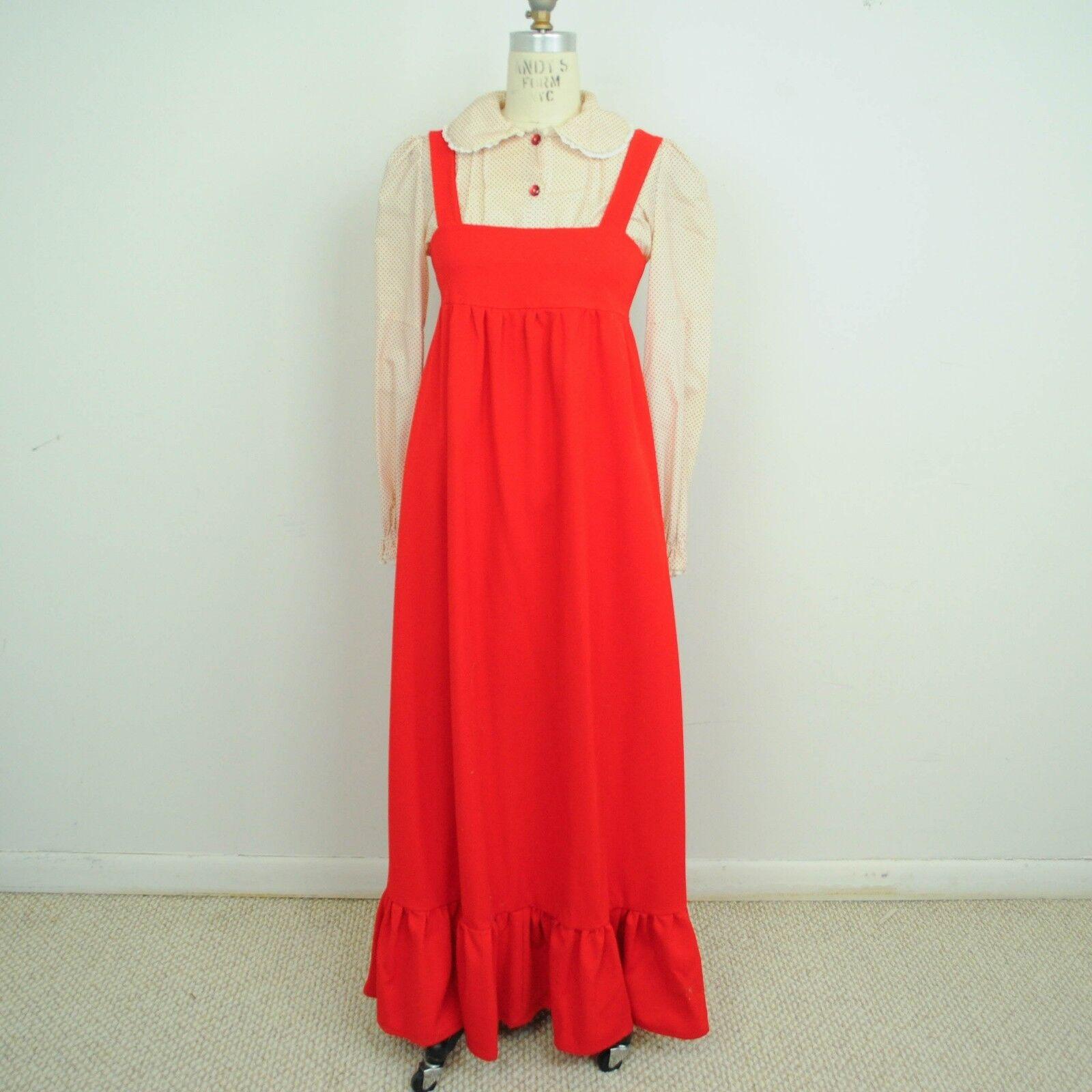 VTG 60s 70s Womens Pinafore Maxi Dress Polka Dot Blouse Sz XS S Red White D24