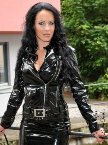 Tamaño vinilo XS motociclista Falta 58 Xxxl Vinilo de Chaqueta tipo 32 chaqueta Negro brillante xzCCwF
