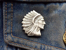 Indian Chief Head Pewter Pin Badge