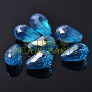 Hot-20pcs-16X10mm-Faceted-Teardrop-Crystal-Glass-Spacer-Loose-Beads-Lake-Blue-AB