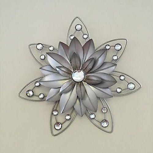 Exceptional Item 2 Stunning Rustic 30cm Flower Diamante Jewelled 3D Metal Wall Art Decor   Stunning Rustic 30cm Flower Diamante Jewelled 3D Metal Wall Art Decor