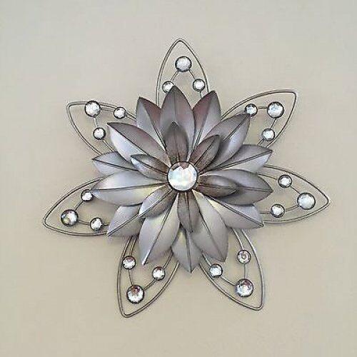 Rustic Flower Wall Decor STUNNING 30cm Diamante Jewelled 3d Metal ...