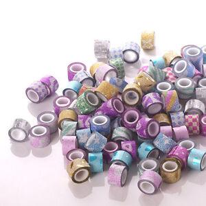 New-20-40-60-Roll-DIY-Mini-Glitter-Washi-Paper-Tape-Adhesive-Decor-Craft-Sticker