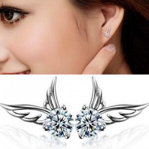 Details About Uk Womens Angel Wing Earrings 925 Sterling Silver Crystal Studs Ear Stud Fashion