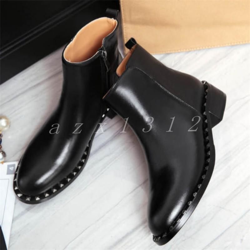 Stylish Ladies Womens Leather Ankle Boots Flats Round Toe Oxfords Punk shoes SZ