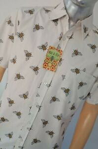 Run-amp-Fly-Men-039-s-Retro-Bumble-Bee-Print-Short-Sleeve-Shirt-60s-70s-Vintage-Indie