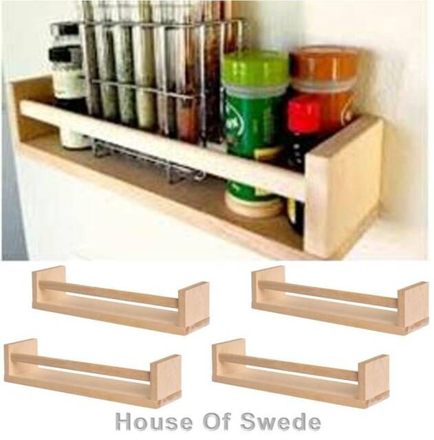 4 X IKEA Spice Jar Rack WOODEN Magazines Books Holder Wall Shelf NEW Bekvam