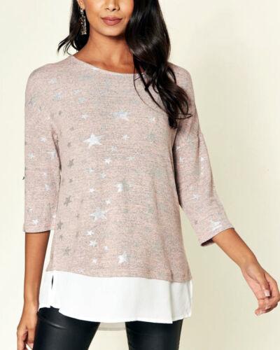 New Women Ladies Pink Casual 3//4 Sleeveless Star Print Top Blouse Shirt