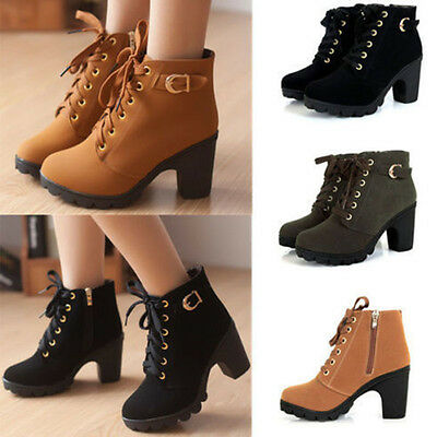 Womens High Heel Lace Up Ankle Boots Ladies Zipper Buckle Platform Shoes sx