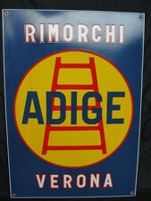 INSEGNA SMALTATA RIMORCHI ADIGE VERONA PER CAMION FIAT 682 TARGA OLD SIGN OIL