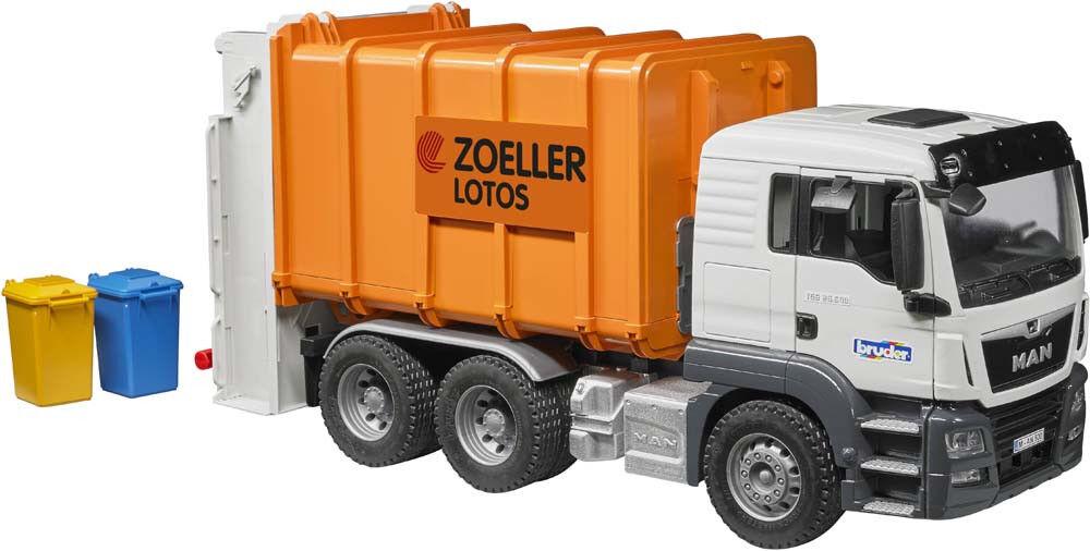 BRU3762 - Camion poubelle 6x4 MAN TGS Orange avec conteneurs jouet BRUDER - 1 16
