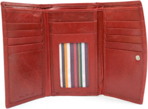 Ladies Credit Card Slots Womens Leather Tri-Fold Purse with Multiple Pockets