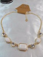 Monet Gold With Crystal & White Stones Statement Necklace, Beautiful