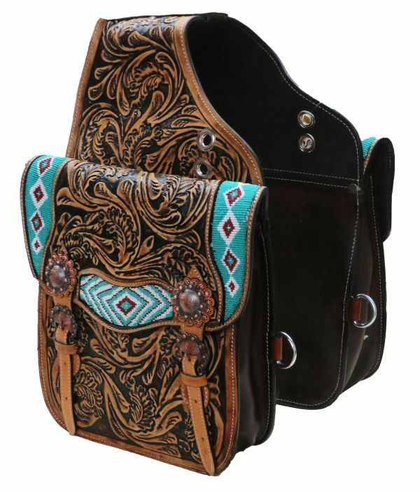 Showman Western SADDLE BAG 10 x10 x3    TEAL & WHITE Beaded Inlay Tooled Leather  fashion mall