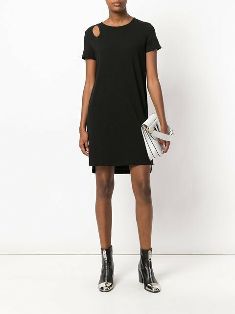T Alexander Wang Teardrop Cutout Tee Shirt Shift Dress S 4 6 NWT T441