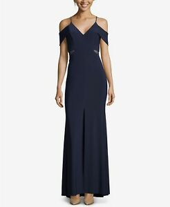 602f39b6 Image is loading XSCAPE-Navy-Blue-Illusion-Mesh-Cutout-Cold-Shoulder-