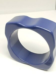 Unique Design Thick Wide Dark Blue Bangle Bracelet 1 inch wide