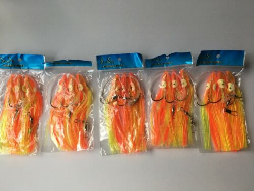 "5 Set New Rigged Squid Skirt Trolling Fishing Lure 5/"" Orange//Yellow lures 7//0"