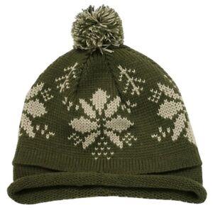 597c38be41ddf1 Olive Green Snowflake Roll Up Beanie Pom Pom Winter Ski Hat Cap ...