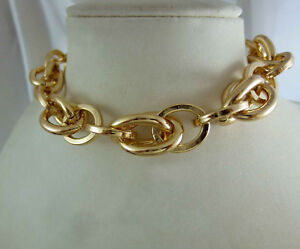 18k-18ct-Gold-GF-Solid-Chain-Link-Choker-Necklace-18k-gf